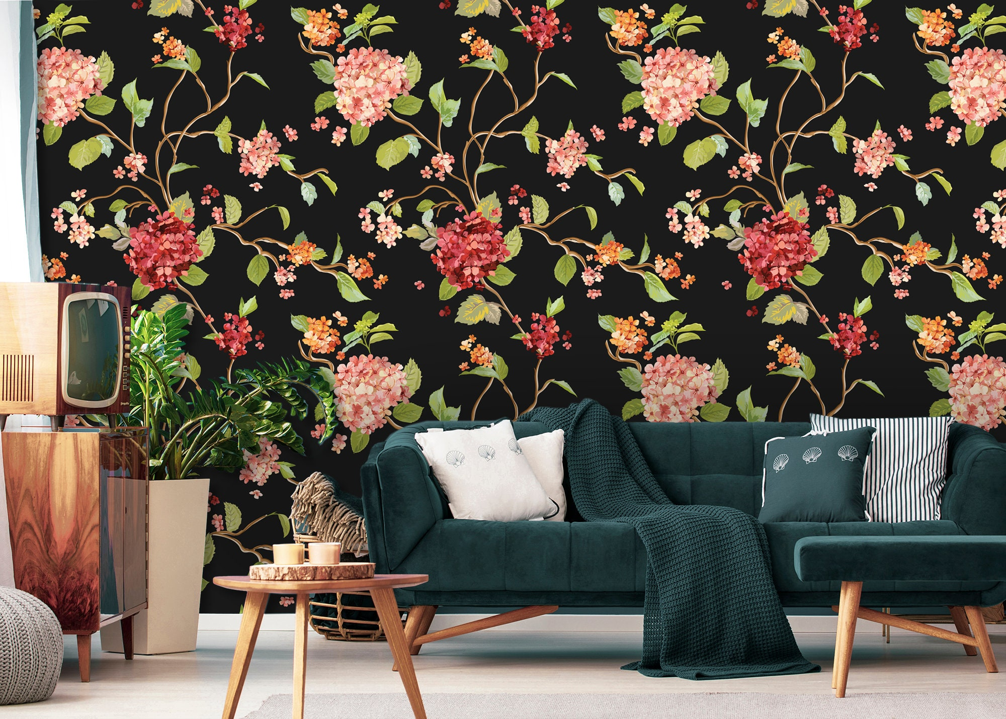 Blooming Hortensia Removable Wallpaper Vintage Floral Etsy