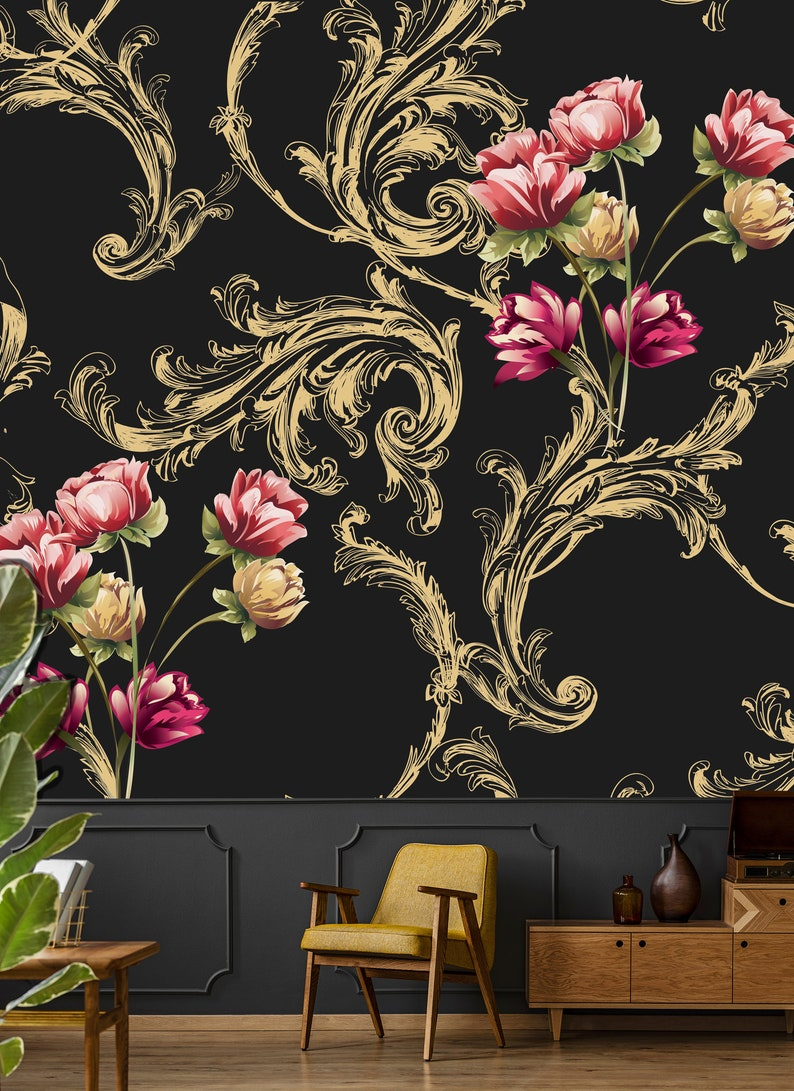 Gold Ornament Print Wallpaper Floral Bouquet Art Dark Etsy