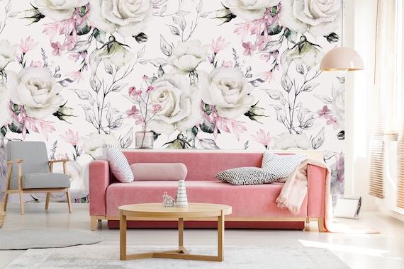 Wedding White Rose Art Wallpaper Floral Wallpaper Boho Wallpaper Nursery Wallpaper Watercolor Wallpaper Wedding Clipart Peony Bouquet
