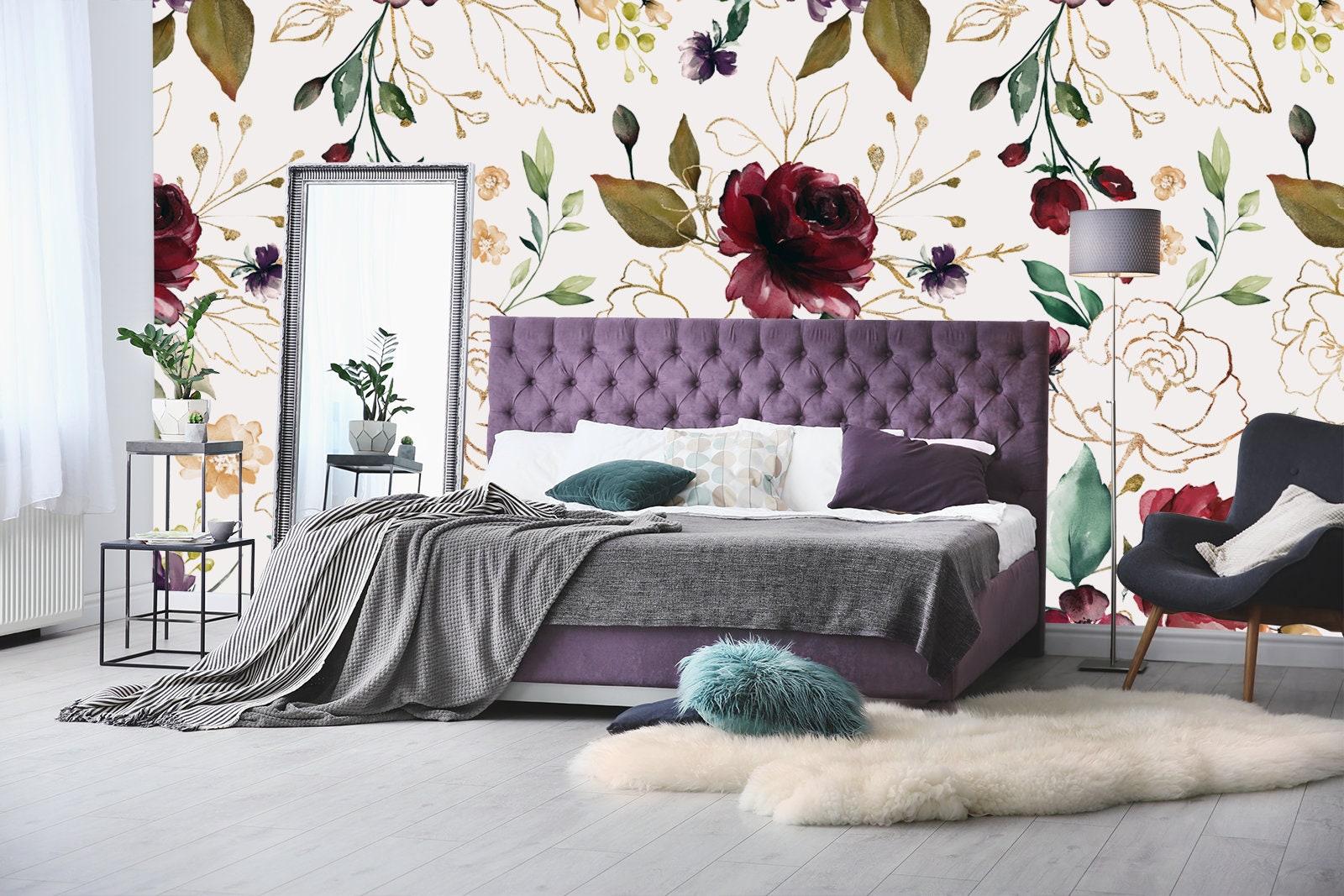 Floral Oil Painting Wallpaper Floral Wallpaper Boho Etsy