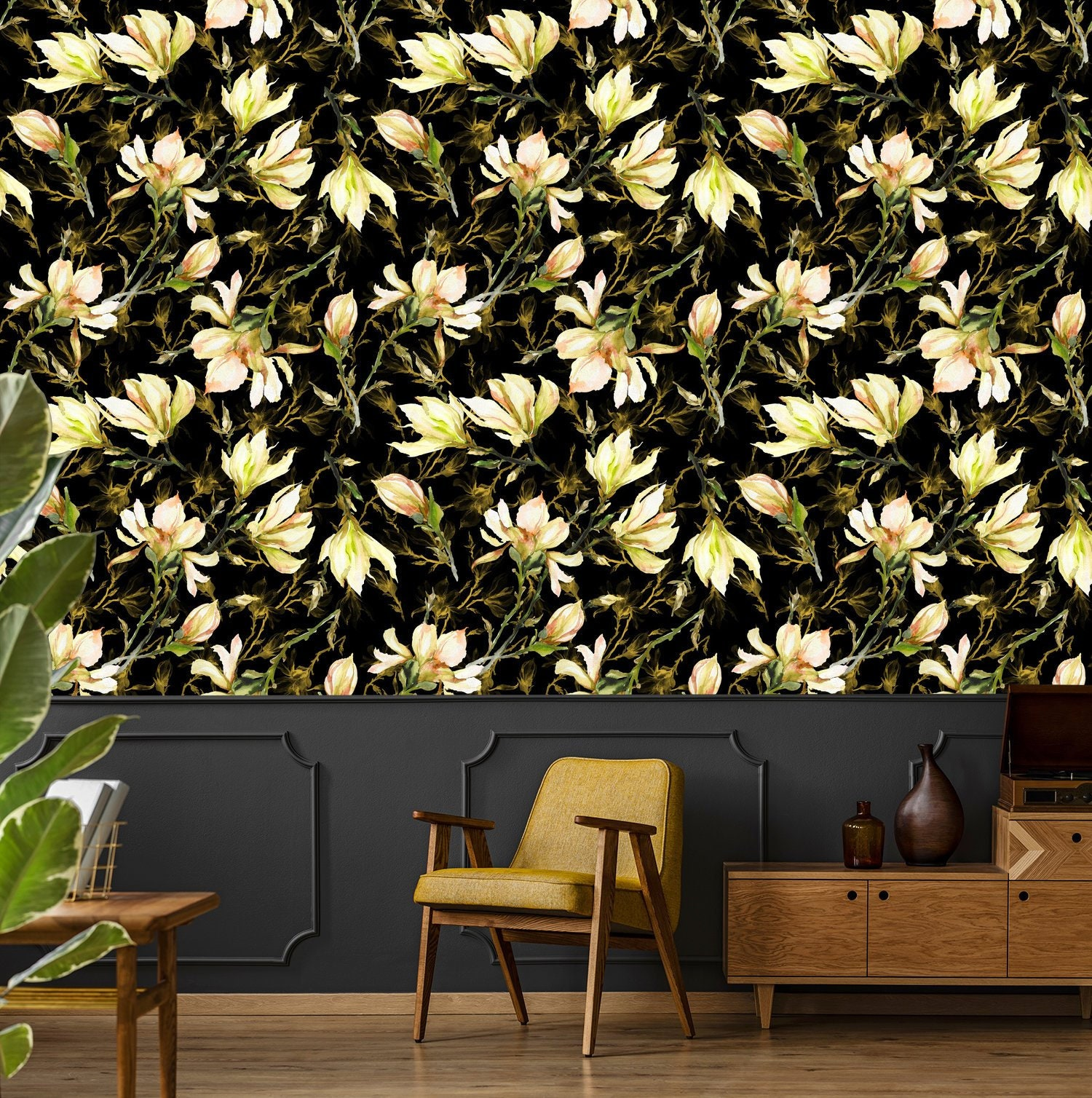Floral Wallpaper Yellow Magnolia Flowers On Black Background Etsy