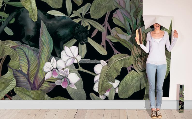 antique oil painting vintage wallpaper Jungle art wallpaper floral wallpaper black panther art banana leaf wallpaper dark wallpaper