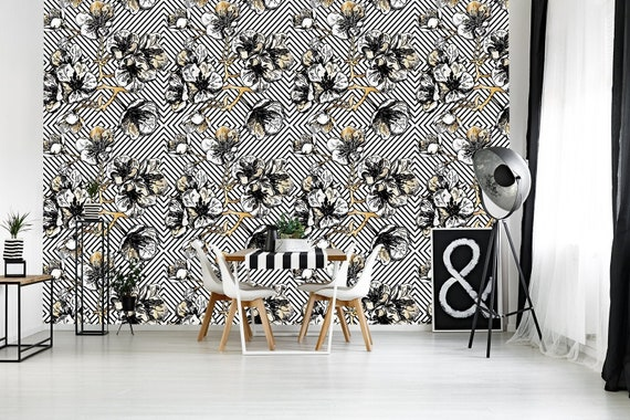 Black White Geometric Wallpaper Self Adhesive Floral Peel And Stick Wallpaper Wallpaper Roll Removable Wallpaper Temporary Wallpaper