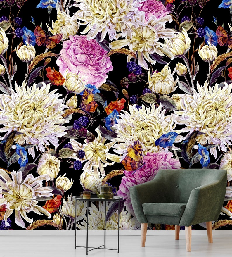 self adhesive wall mural peel and stick removable wallpaper Field flowers dark wallpaper wall decor temporary wallpaper floral bouquet
