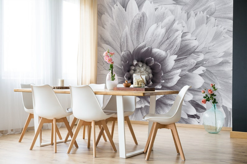 White Dahlia Wallpaper Peel And Stick Floral Wallpaper Black Etsy