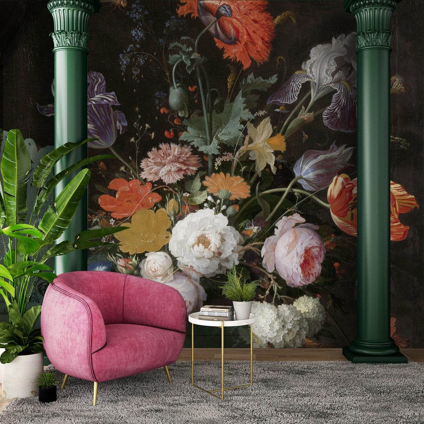 Dutch Floral Wallpaper Peel And Stick Wallpaper Big Flowers Etsy