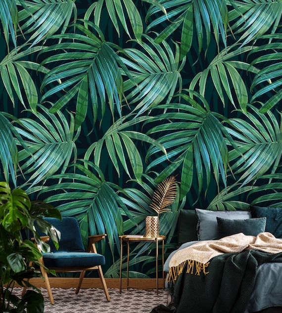 Dark Green Leaves Peel And Stick Wallpaper Palm Leaf Wall Art Self Adhesive Temporary Wall Mural Removable Wallpaper Wall Decor