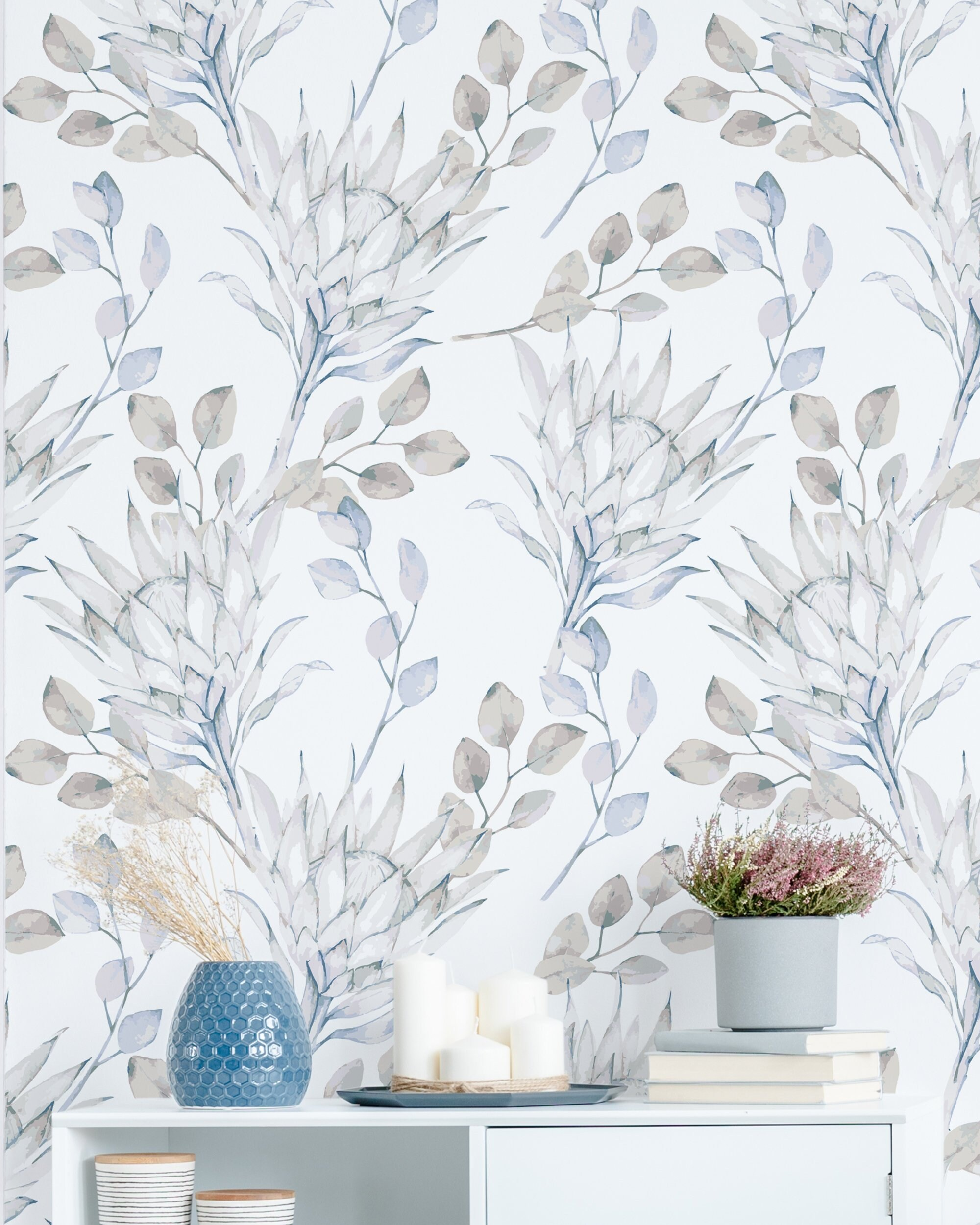 Delicate Floral Wallpaper African Protea And Eucalyptus Etsy
