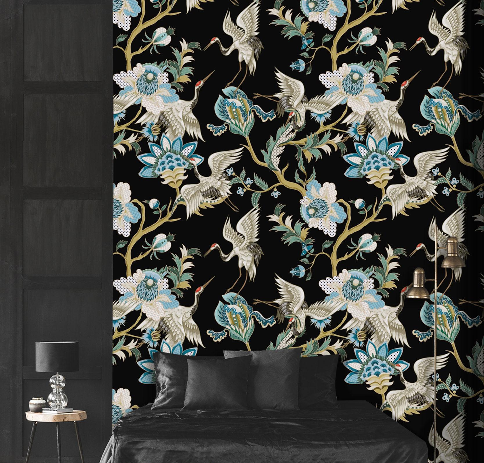Japanese Art Wallpaper Removable Wallpaper Dark Floral Etsy