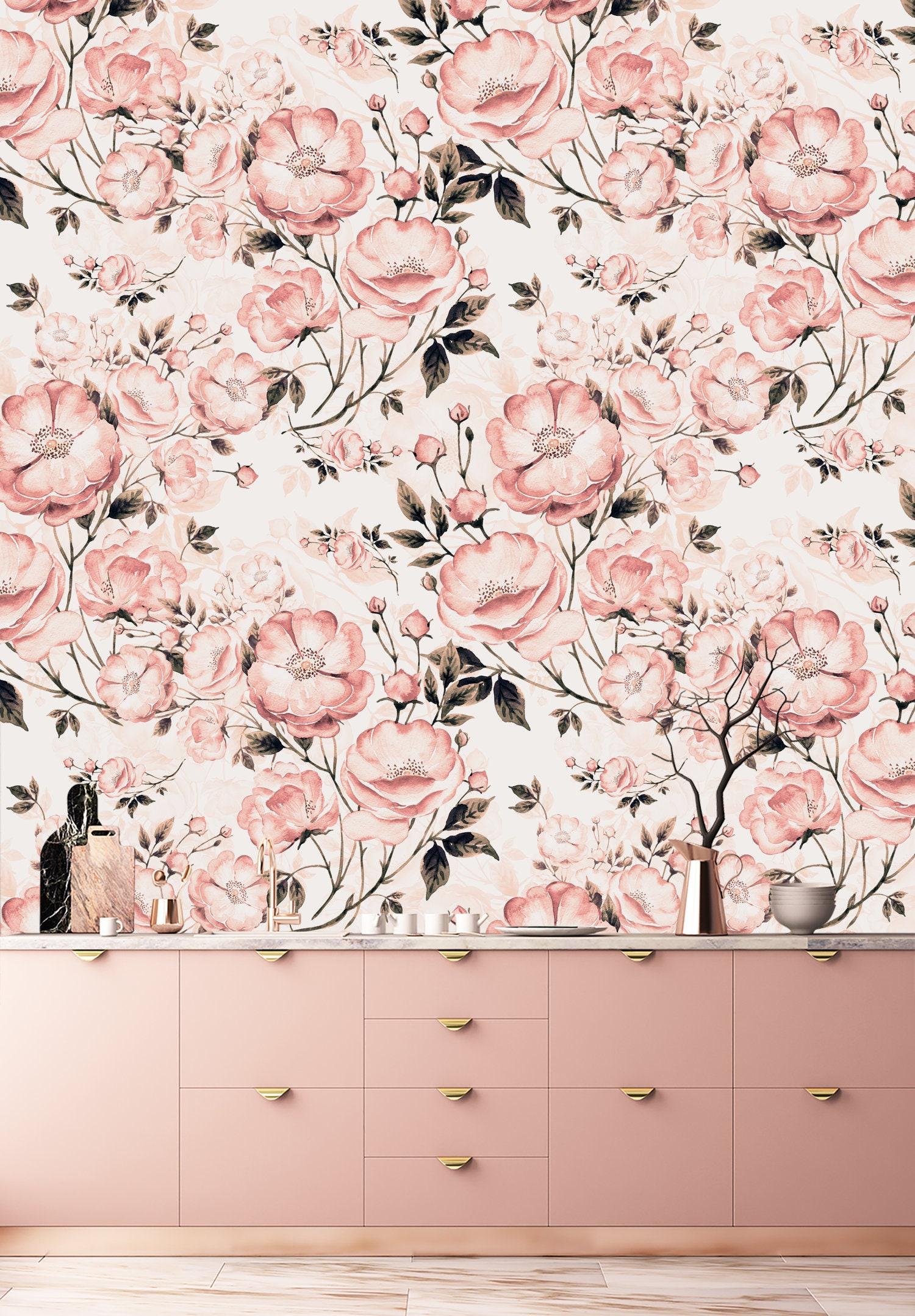 Nursery Floral Oil Painting Print Wallpaper Floral Wallpaper Etsy