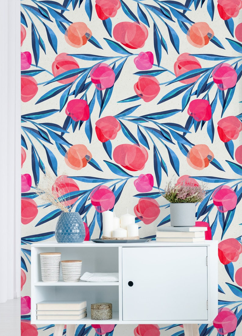 Botanical Self Adhesive Wallpaper Removable Wall Mural Pink Etsy