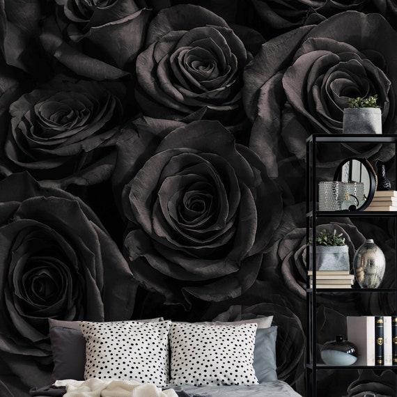 Dark Rose Wallpaper Self Adhesive Wallpaper Temporary Floral Wallpaper Dark Wall Mural Wall Sticker Removable Peel And Stick Wallpaper