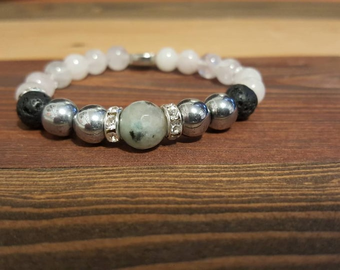 Featured listing image: Universal Love Bohemian Diffuser Gemstone Bracelet, hippie chic, stacking》Hematite 》 Rose Quartz 》 Moss Agate 》essential oil jewelry