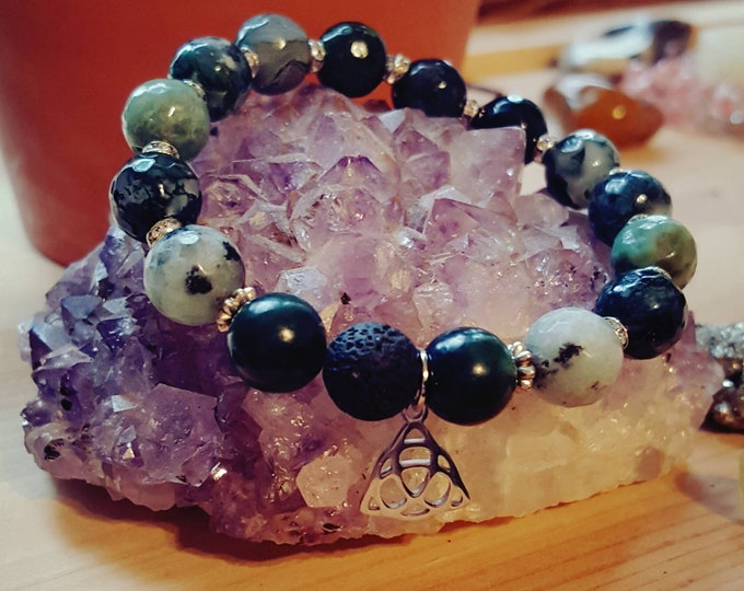 Featured listing image: Boho Style 》Faceted Moss Agate Healing Stone Bracelet》 with Holy Trinity Charm 》  & Swarovski Crystal Accents 》 Handmade with Love
