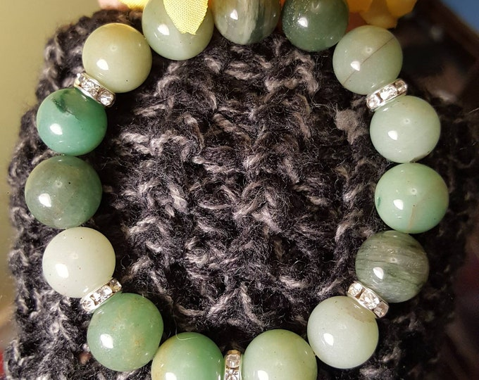 Featured listing image: Chunky Moss Agate Bracelet》》 with star charm & Swarovski Crystal Accents
