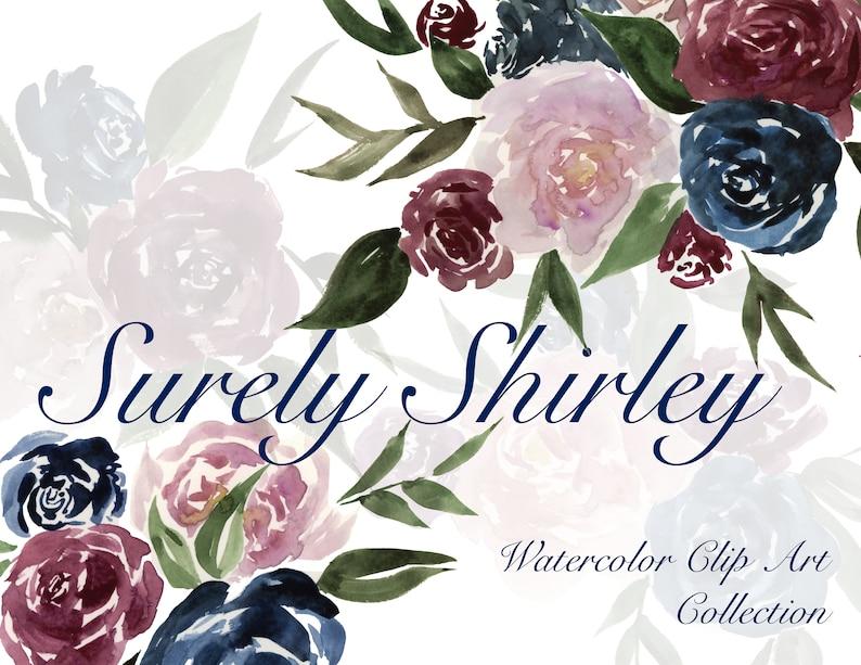 Watercolor Flower Bouquet Mauve Maroon Navy Pink Blossom Wreath Clip Art Digital Download Floral printable Invitation bridal wedding shower