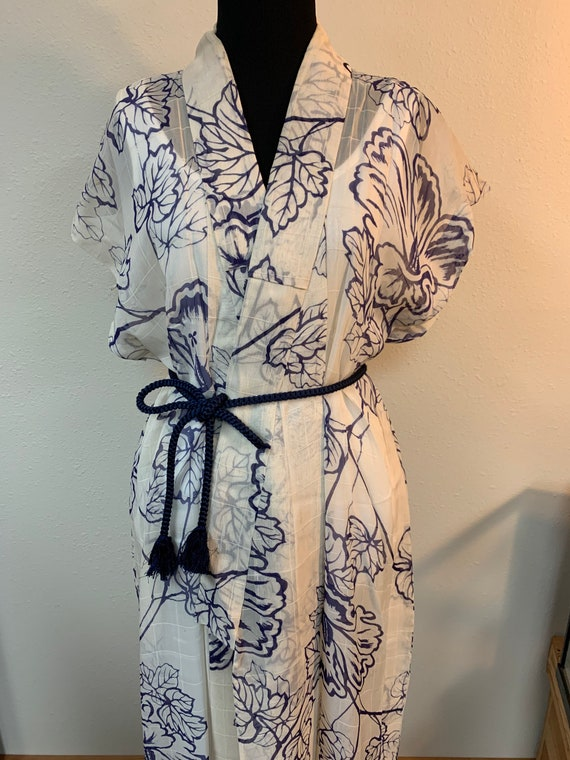 Japanese vintage silk sleeveless kimono dress