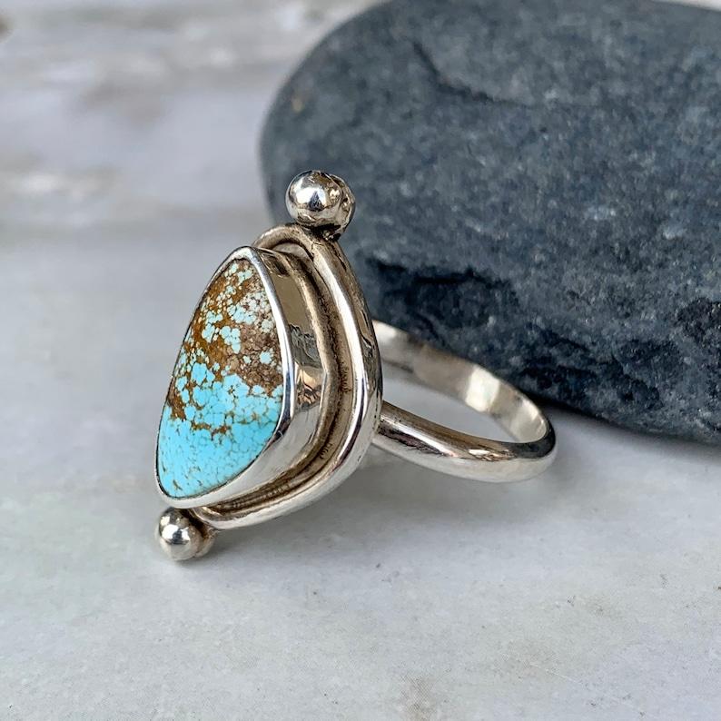 Southwestern Turquoise Ring Triangular Godber NV Turquoise Ring-Size 6.5 Modern Ring Jewelry,Boho Turquoise Nevada Turquoise Ring Jewelry