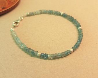 Bracelet gemstone aquamarine. Button faceted, 925 silver. Handmade, Fairtrade. Real gemstone