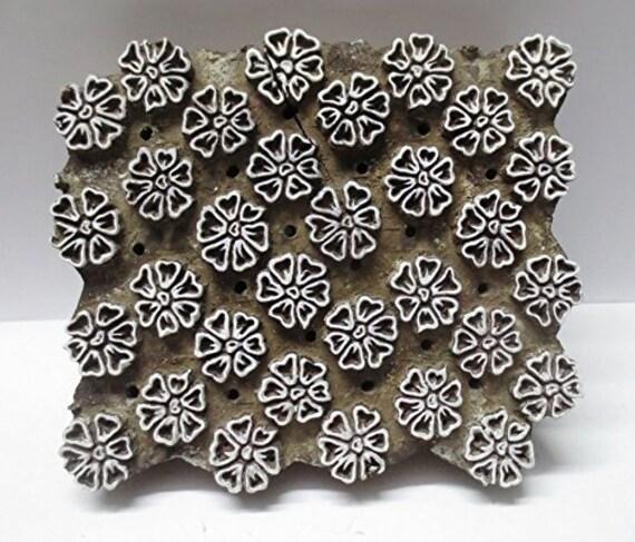 Vintage Wooden Handcarved Textile Printing Block Wallpaper Tool Stamp