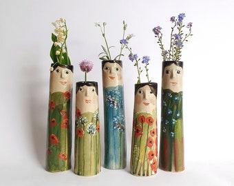 Flower Family Bud Vases, Ceramic Vases, Pottery Planter, Vases With Faces, Flower Vase, Home Decor, Head Vase, Handmade Vases, Dry Flower
