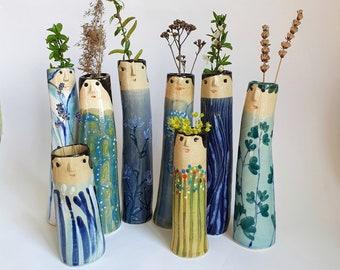 Spring Family Bud Vases, Ceramic Vases, Pottery Planter, Vases With Faces, Flower Vase, Home Decor, Head Vase, Handmade Vases, Dry Flower