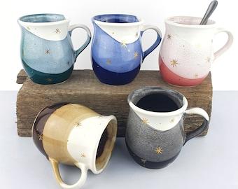 Gold Handmade Pottery Mug, Ceramic Kitchen Drip Glaze Mug, Porcelain Modern Set, Wheel Thrown Mugs, Christmas Tea Mug, Holiday Gift Ideas