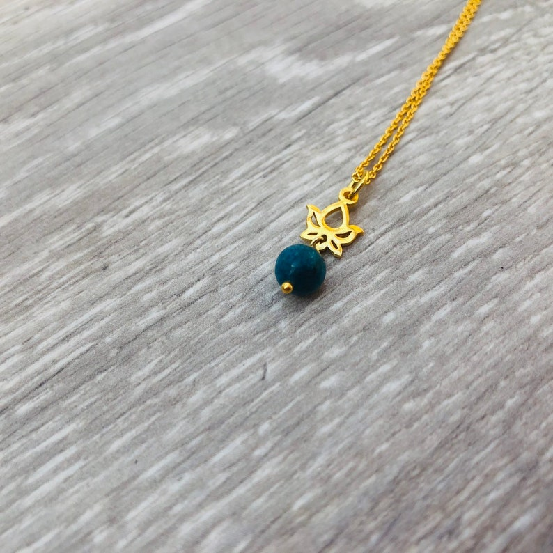 Lotus necklace 925 sterling silver 15.5 inch chain with A grade 6mm apatite crystal