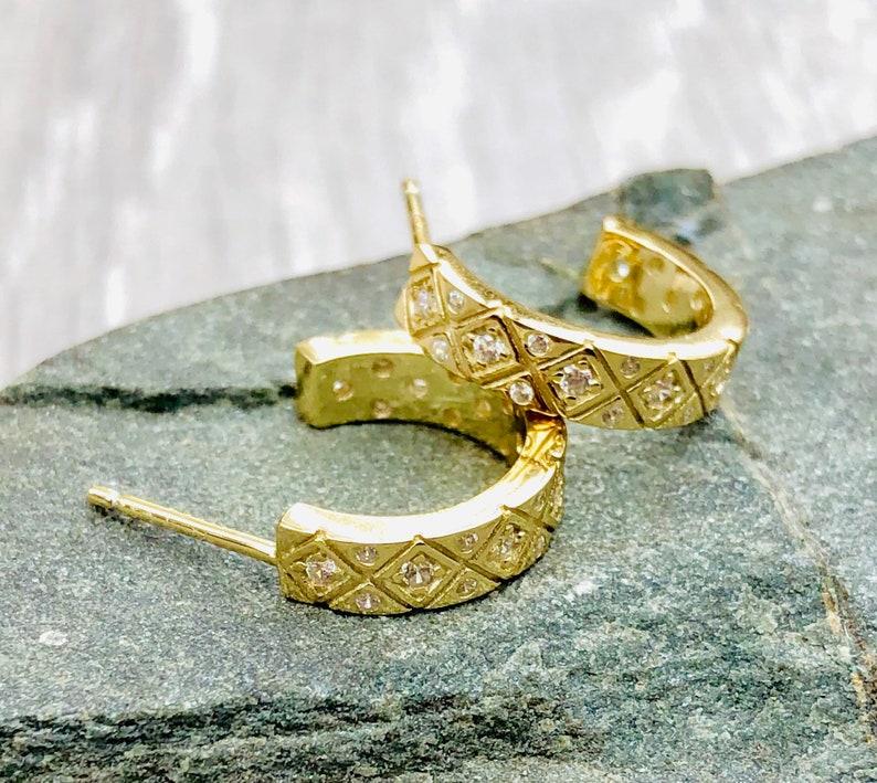 Cz Diamond chunky stud hoops 14k gold on sterling silver 925