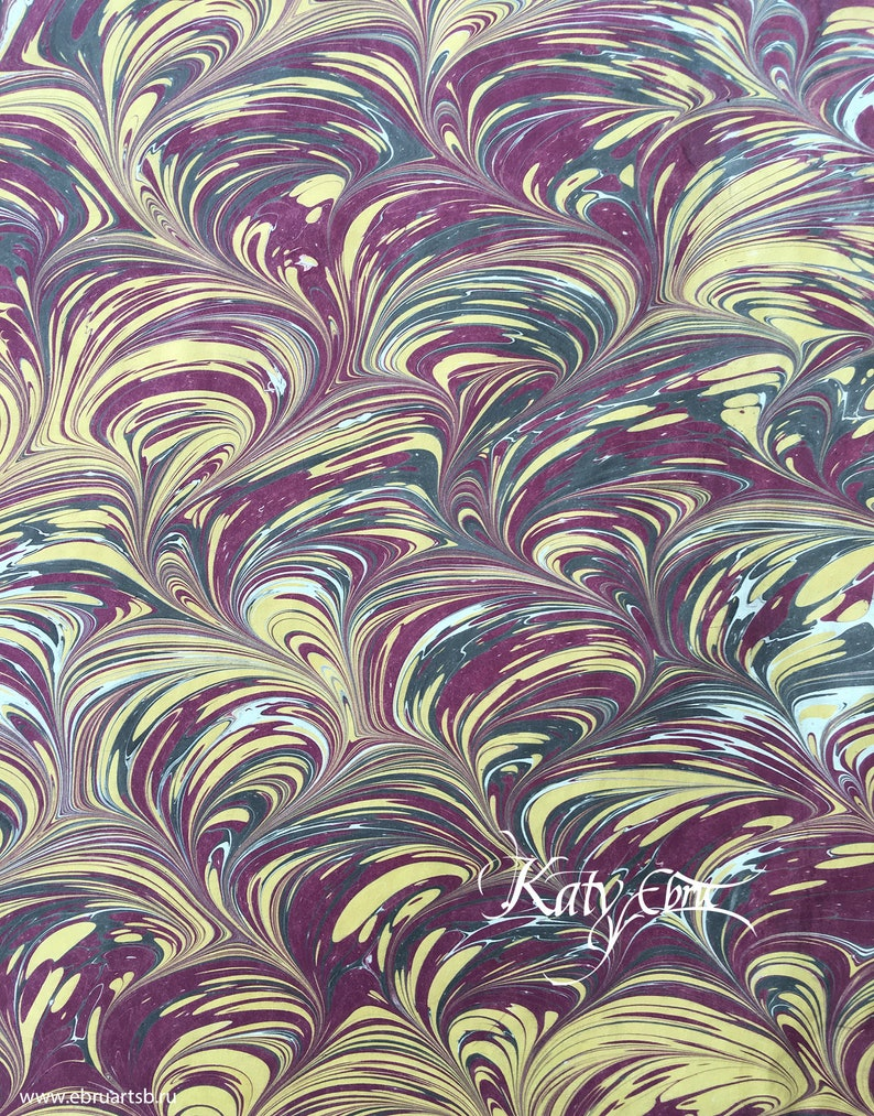 Fine handmade comb marbled paper