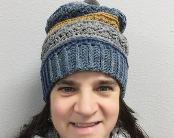 0aecc10852d7a5 Gray/Blue/Gold Mountain Cupcake Slouch Hat