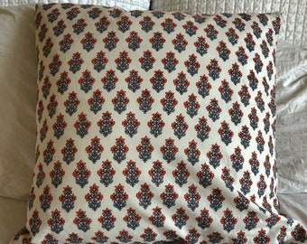20 inch white blue and red cotton floral printed pillow