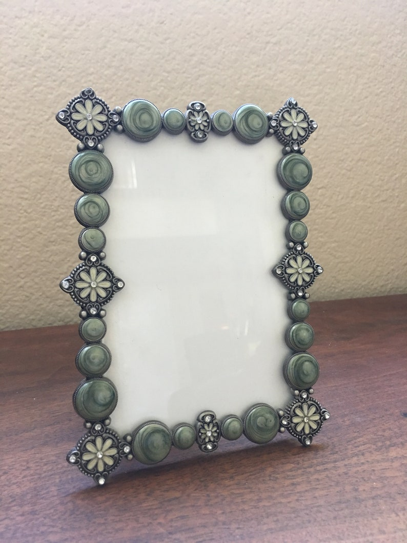 Vintage style 4 x 6 green enameled frame with rhinestone detail