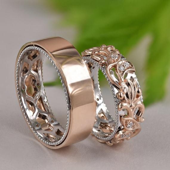 Matching Wedding Bands, Wedding Band Set His and Hers, His and Hers Rings,  Gold Leaf Wedding Band, Vine Couples Ring Set