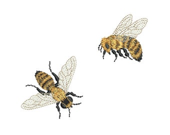 Bees-  Mini Bees embroidery design by Sue Box - 2 Bees in 2 Sizes from our Embroidery favourites