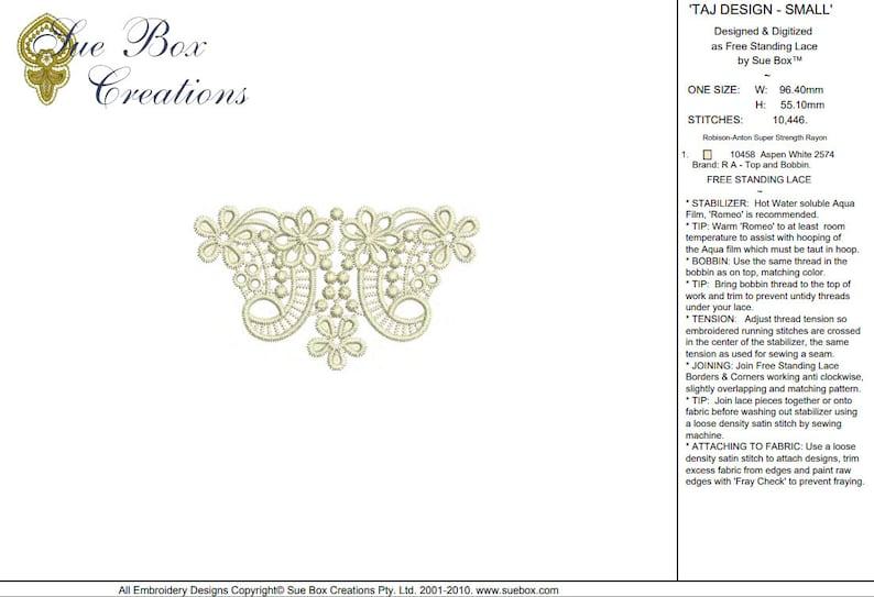 Classic Lace 22 beautiful free standing lace machine Embroidery design by Sue Box Lace Taj Design Small