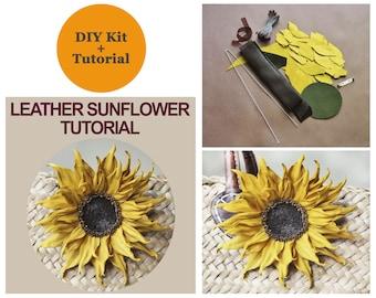 SPECIAL OFFER DIY leather sunflower brooch making kit + leather sunflower tutorial, flower making craft diy kit, beginners diy leather kit