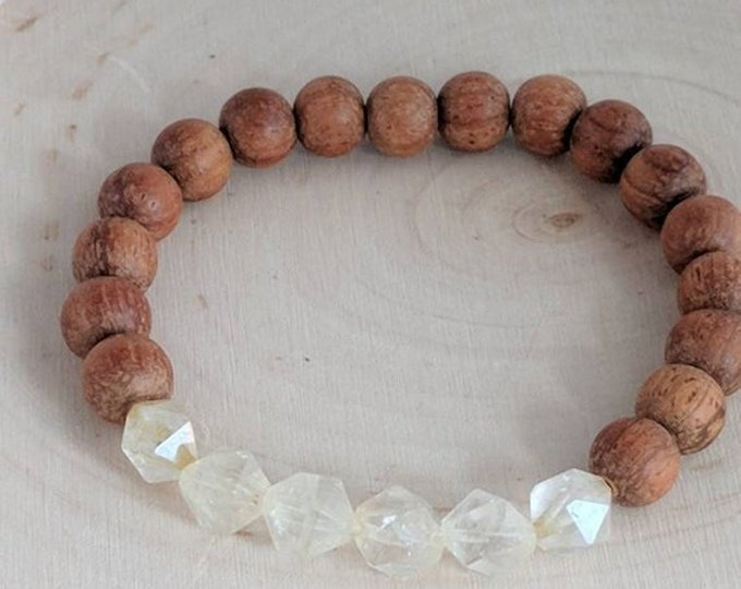 Faceted yellow quartz beads with raw bayong, diffuser bracelet, essential oil, beach boho bracelet, stretch bracelet, yoga bracelet