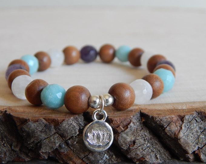 Multi gemstone stretch bracelet with sandalwood, boho bracelet, lotus bracelet, yoga mala jewelry, gift for her, soothing gemstone