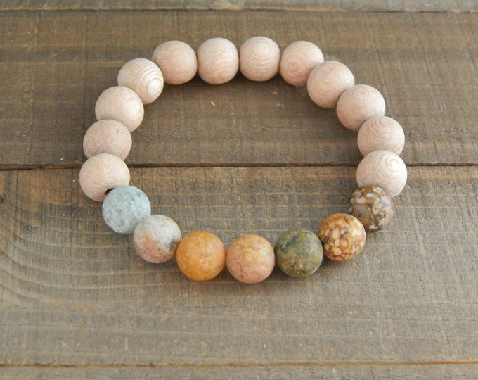 Indian agate with rosewood beads, diffuser bracelet, essential oil, beach boho bracelet, beaded stretch