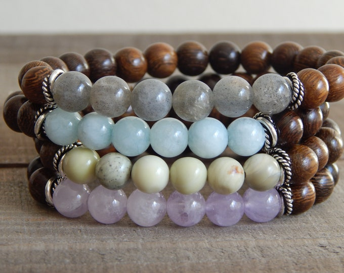 Semiprecious gemstones and wood bracelet with silver accents, multicolor bracelet, yoga bracelet, chakra, healing crystals, robles wood