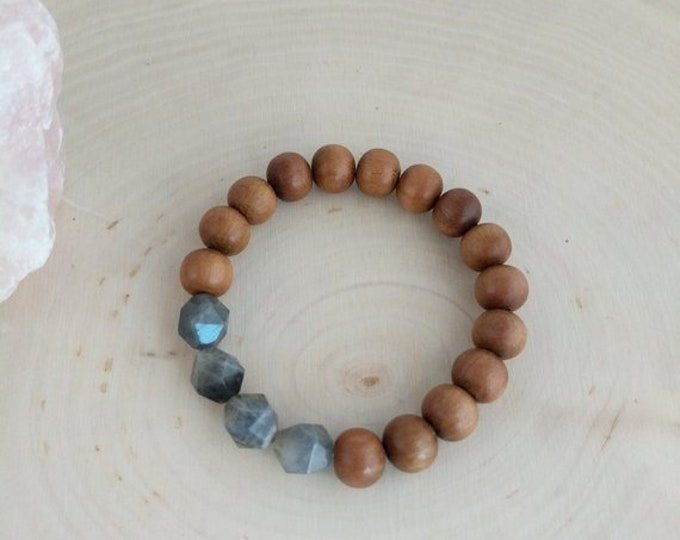 Labradorite with scented sandalwood ,mala bracelet, beaded stack, chunky bracelet, meditation bracelet