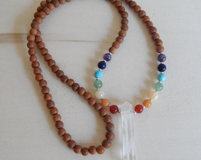 READY TO SHIP Chakra mala necklace/ crystal quartz spike/ meditation jewelry/ sandalwood beads/ 108 beads/ zen necklace