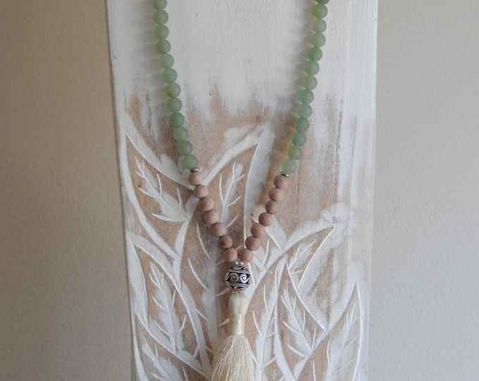 Matte green aventurine mala necklace with silky tassel, meditation jewelry, rose wood beads, 108 beads, luck necklace