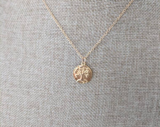 Gold vermeil tree of life necklace, gold vermeil charms, beach boho necklace, summer jewelry, 14kt gold filled, yoga necklace
