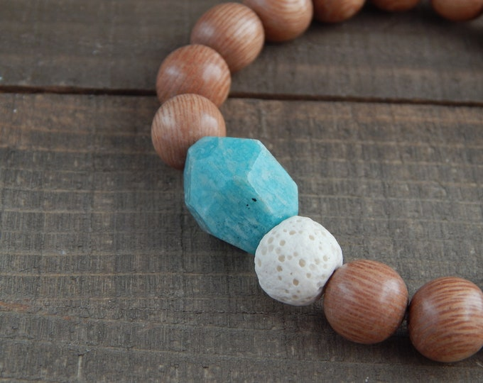 Aqua blue amazonite nugget with rosewood beads, diffuser bracelet, essential oil, beach boho bracelet, stretch bracelet, white lava rock