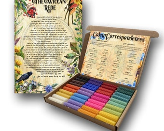 40 Pack of 2 Inch Beeswax Spell Candles   Unscented   Assorted Colours   Wiccan Rede   Colour Chart   Hand-rolled   Burn Time 35 Mins