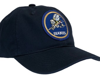 8f8c76e974b Navy Seabees DAD Cap Dark Blue Hat 100% Unstructured Double Layered Cotton