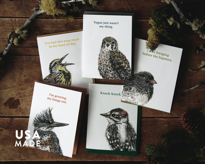Bird Chatter GREETING CARD Box Set of 5  A2 Jokes Funny Humor Stationary Bird Birding Boxed Cards Pack Letter Writing CatchReleaseCreative
