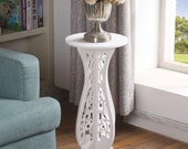 White Small Coffee Table Desk Wood Plastic Board Round Small Coffee Tea Corner Table Side End Table Rack Stand Home Furniture living room